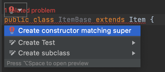 create constructor matching super